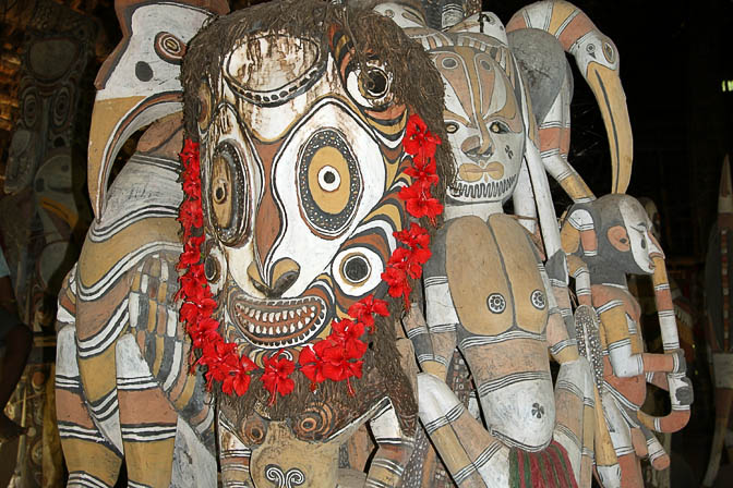 Totems inside a Haus Tambaran (Spirit House) in Yamok, the Sepik River 2009