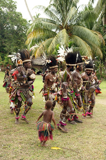 Performers dance in a singsing (cultural show) in Kararau, the Sepik River 2009