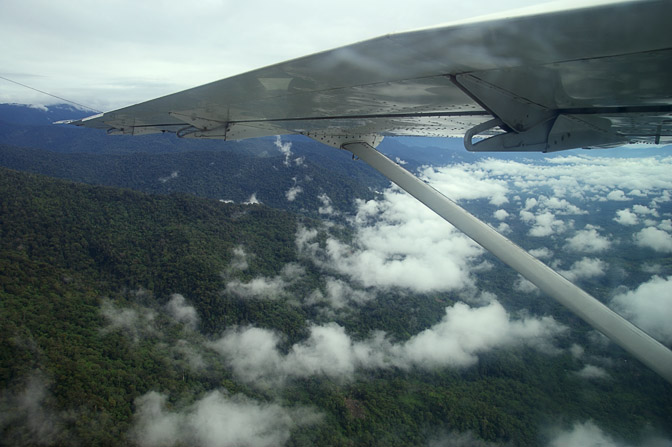 Aerial view of the jungle The Kokoda Trek passes through, Oro Province 2009