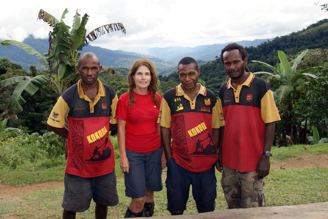Me with the boys (the local trekking team), Arnold, Rommy and Davidson, The Kokoda Trek 2009