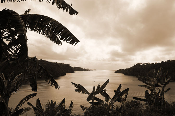 Sunrise at the entrance of Tufi fjord to Solomon Sea, Kabuni Village 2009 (Sepia tone)
