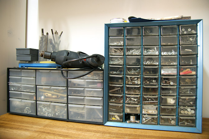 Tidy cases of tools, nails and screws, 2009