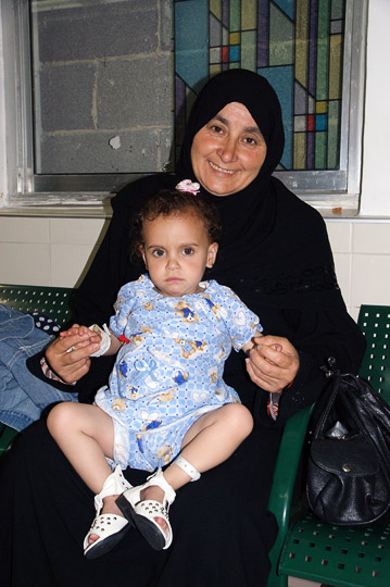 Aya from Gaza waits for her echocardiogram in the outpatients clinic, The Wolfson Hospital 2011