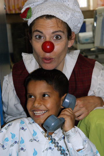 Adnan from Gaza is playing with a volunteer clown, The Wolfson Hospital 2011
