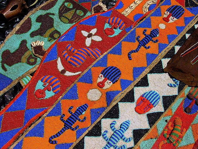 Multicolor bead craft in the Nairobi market, Kenya 2000
