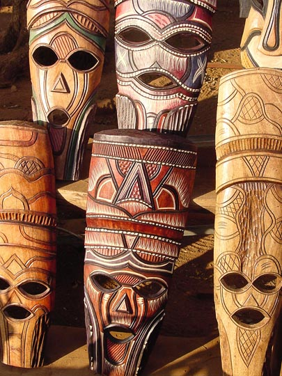African masks in the Entabeni Game Reserve, South Africa 2000