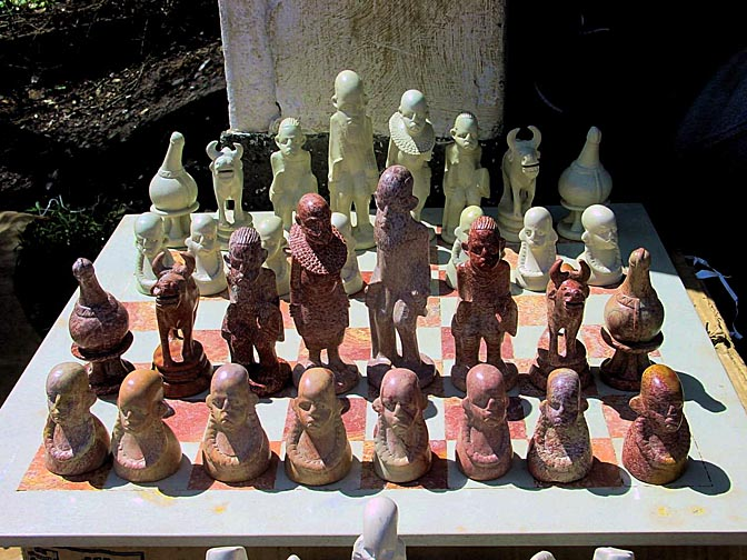 A stone chess set in the Nairobi market, Kenya 2000