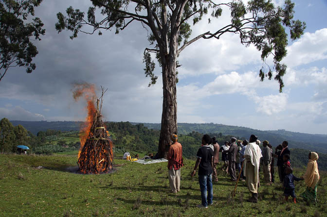 The burning of the Meskel large bonfire (Demera) on top of Mount Tabor, 2012