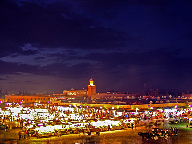 The busy Jamaa el Fna square in the evening, The Medina (old city) 2007