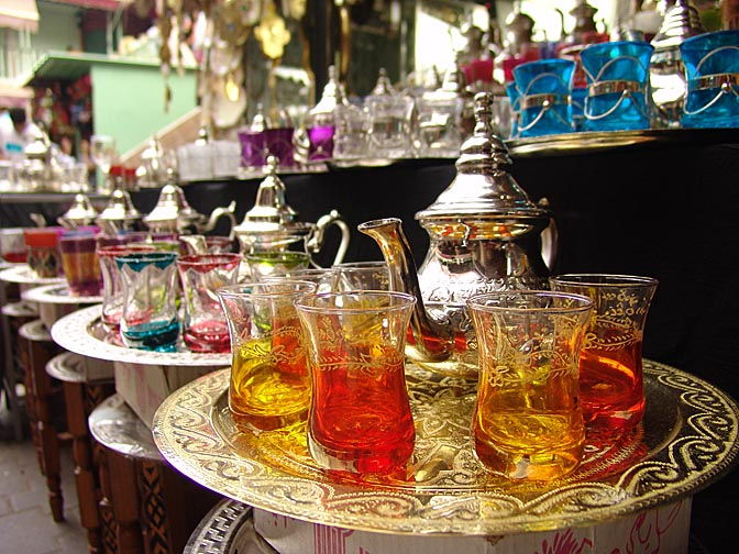 Colorful tea-serving sets in the Souk (market), The Medina (old city) 2007