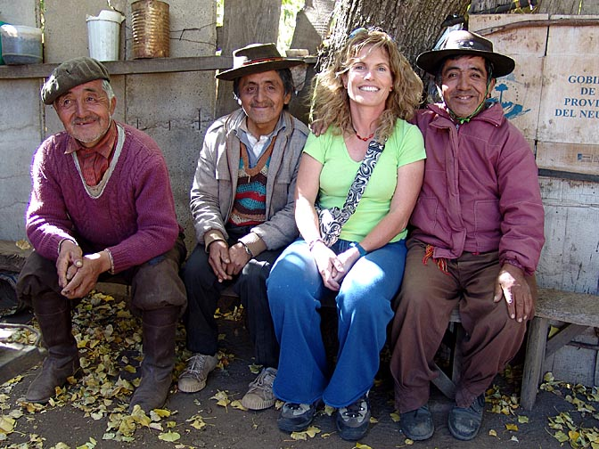 Three Pehuenche (Mapuche) Indian brothers and I in Malleo, the Neuquen province 2004 (photographed by Rafael Bone)