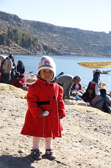 A dressed-up girl at the Wednesday morning market, Amantani Island, Lake Titicaca 2008