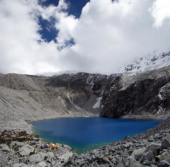 The ice-blue color of Laguna 69, Cordillera Blanca 2008