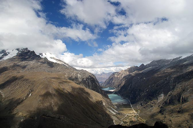 The view of Llanganuco valley and lake from the pass on the way to Laguna 69, Cordillera Blanca 2008