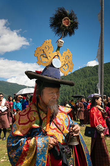 Costumed dancer at Thangbi Mani Cheopa/Festival in Chhoekhor Gewog, Bumthang 2018