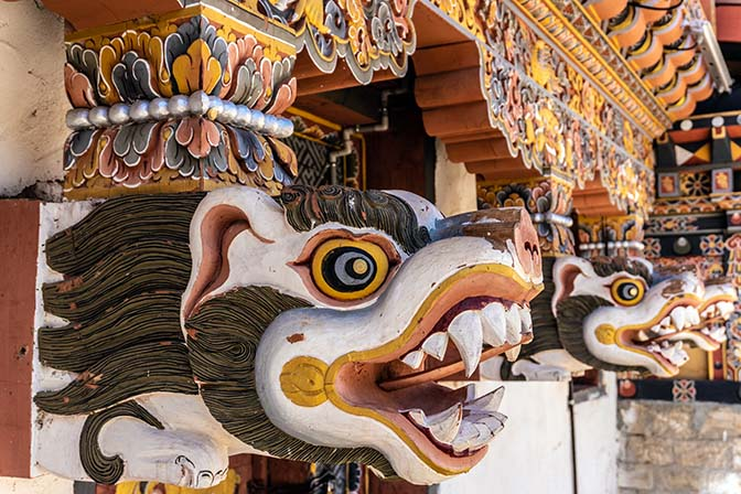 Carved animals at Haa Dzong, 2018