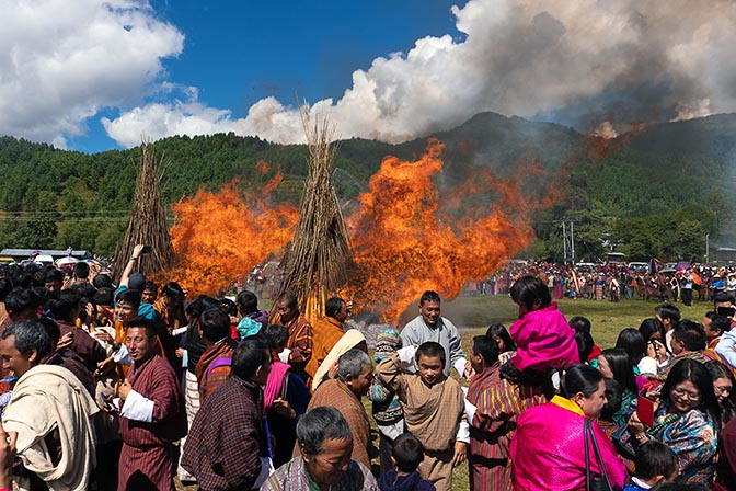 Fire blessing ceremony at Thangbi Mani Cheopa/Festival in Chhoekhor Gewog, Bumthang 2018