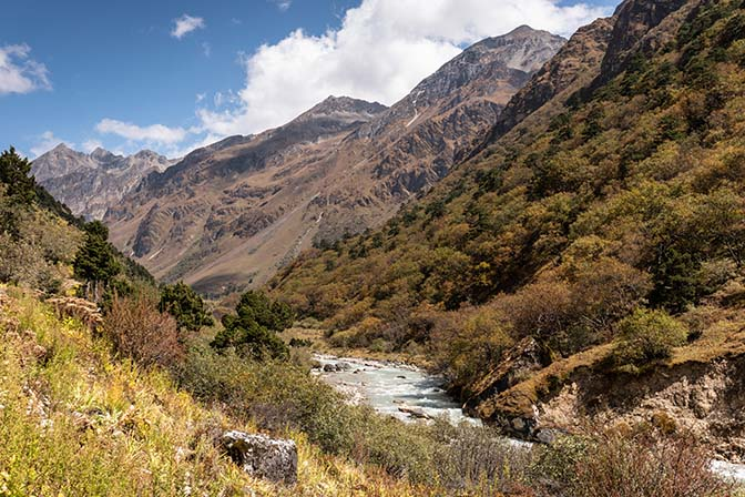 Following the Paro River Valley upstream from Thangthankha to Jangothang, Jigme Dorji National Park October 2018