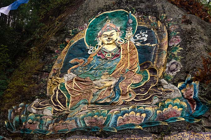 Guru Rinpoche in his manifestation as Pema Jungne bringing the teachings to Tibet, on a rock face outside of Thimphu, 2018
