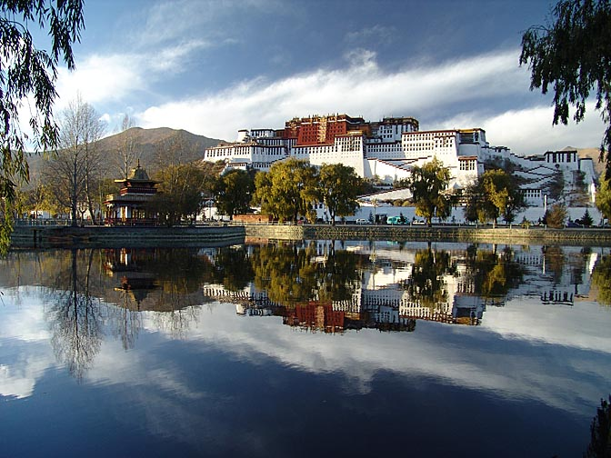 A reflection of the Potala Palace in Lhasa, 2004