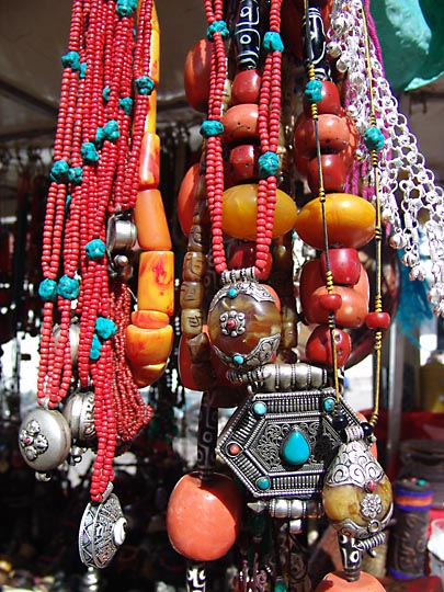 Colorful Tibetan jewelry in the Barkhor Market, Lhasa 2004