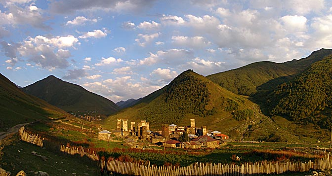Stone buildings and defensive towers in Ushguli in twilight, Upper Svaneti 2007