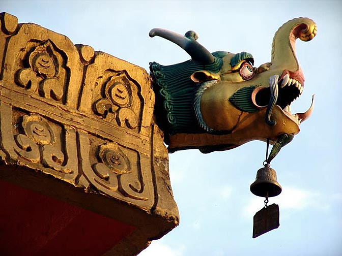 A roof icon in a temple at the Norbulingka, Sidhpur, 2004