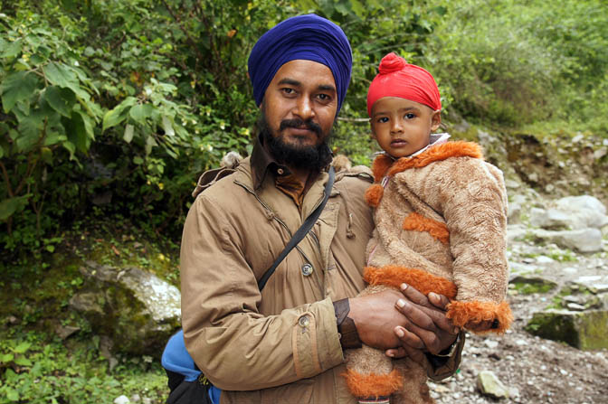 Sikh father and son on pilgrimage to the sacred lake Hemkund, Garhwal Himalayas 2011
