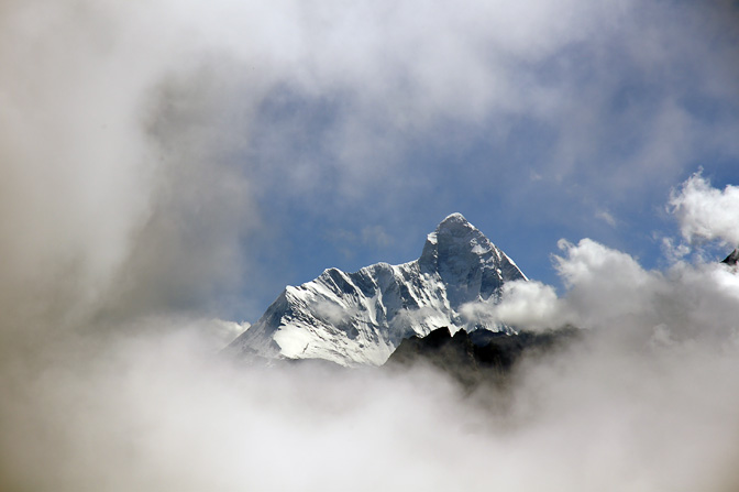 Nanda Devi summit rising above the clouds, Kuari Pass trek 2011