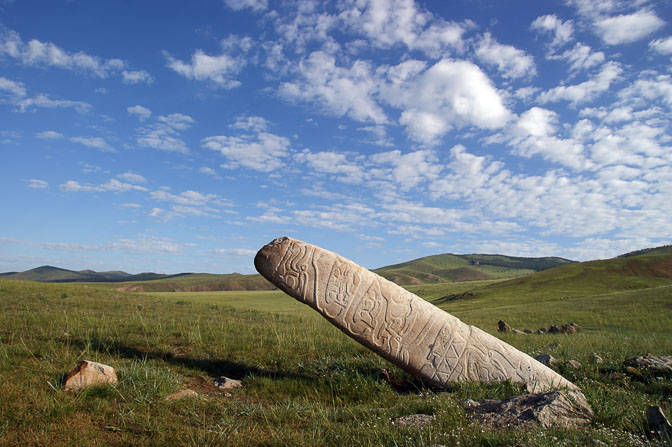 A Deer Stone (Bugan Chuluu) marks a Neolithic grave site close to Tovkhon Sum, Central Mongolia 2010