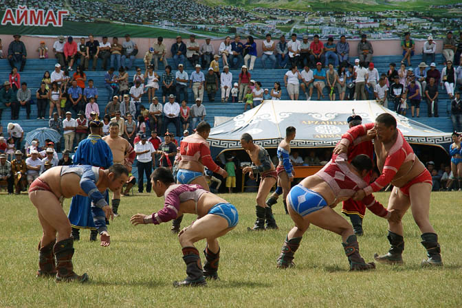 Mongolian wrestling, the most important and strictly men-only tournament in the Naadam Festival, Tsetserleg 2010