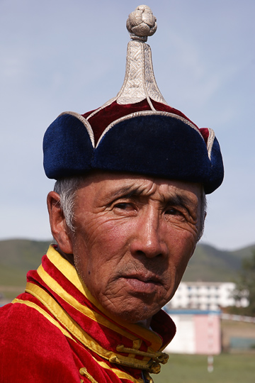 A wrestling judge in traditional Mongolian dress, Tsetserleg 2010