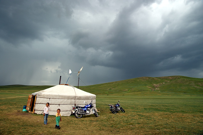 A family Ger (Mongolian home tent) on the steppe near Kharkhorin, Central Mongolia 2010