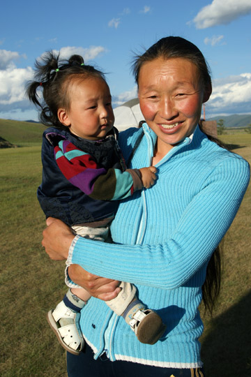 A mother and her child in Naiman Nuur (Navel Eight Lakes) National Park, Orkhon Valley, Central Mongolia 2010