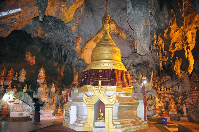 Golden Buddha images and stupa inside the Shwe Oo Min Natural Cave Pagoda, Pindaya Caves 2015