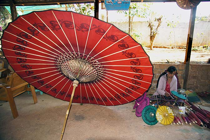 Myanmar Traditional Pathein colorful handmade umbrellas/parasols, Pindaya 2015