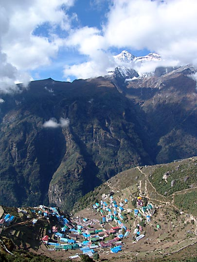 The landscape of Namche Bazaar, 2004
