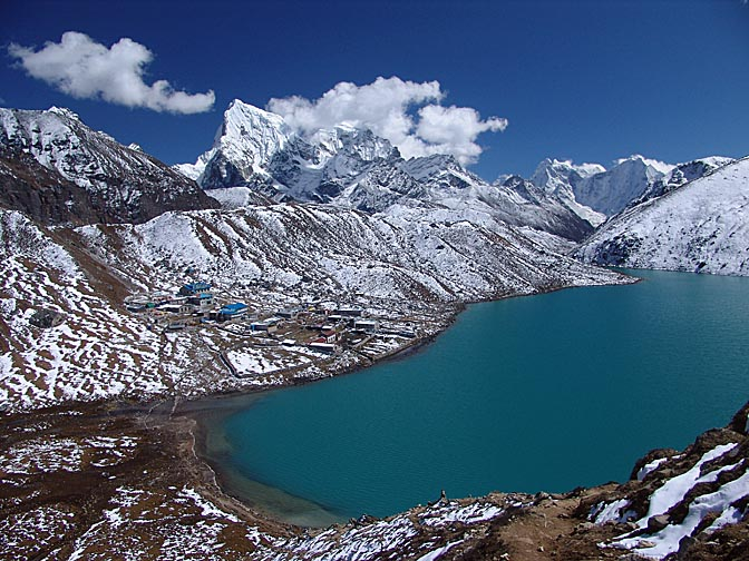 Dudh Pokhari, the third lake of Gokyo, from Gokyo Ri, 2004