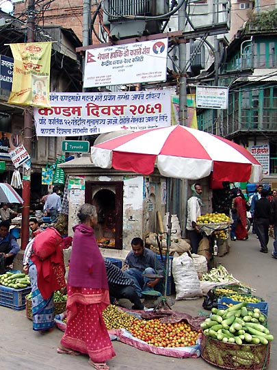 At the Ekha Pokhar vegetable market, 2004