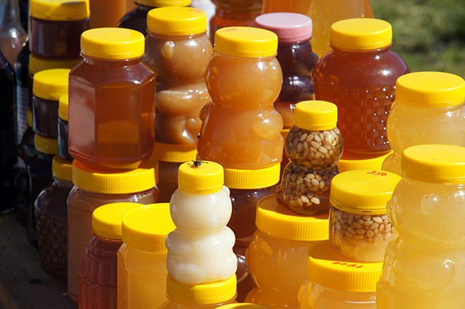 Altai honey on a stand along M52 highway to Mongolia, 2014