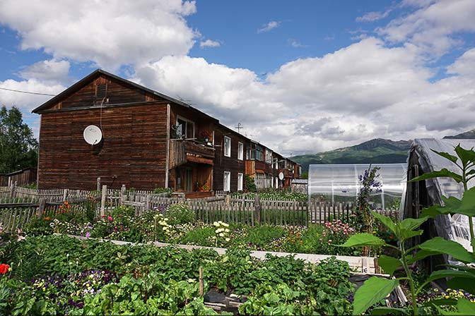 A wooden condo with vegetable plots and greenhouses, Esso 2016