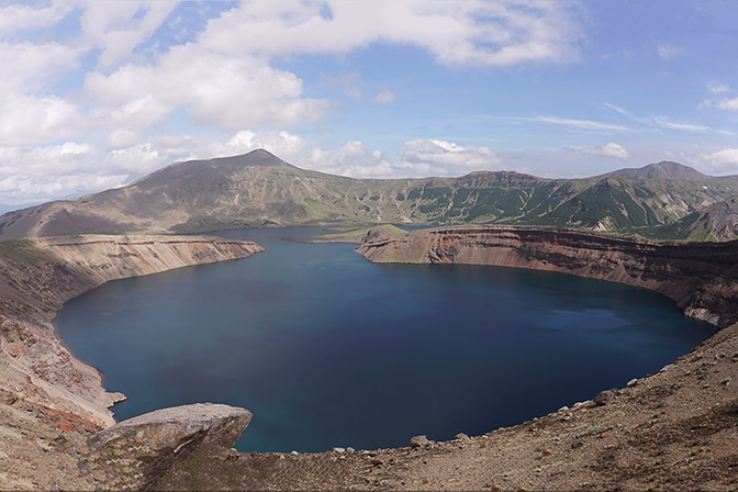 The lake in the cone of Ksudatch Volcano, 2016