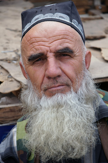 Tajik man wearing a traditional hat in the Shah Mansur Green Bazaar (market), Dushanbe 2013