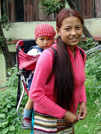 In a baby carrier in McLeod Ganj, Dharamsala, India 2004