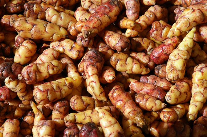 Raw oca tubers in Cusco market, Peru 2008