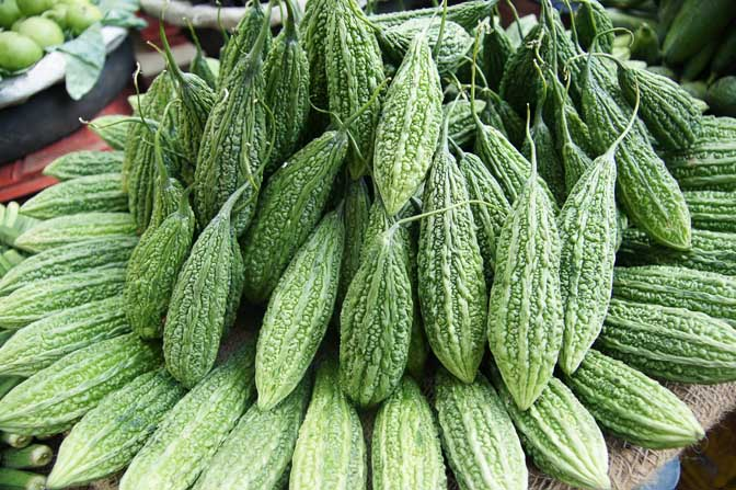Bitter melon (Momordica charantia, Karela) in Paharganj market in Delhi, India 2011