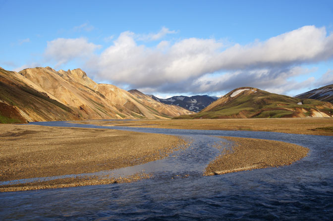 Multicolored rhyolite mountains during sunset, Landmannalaugar 2012