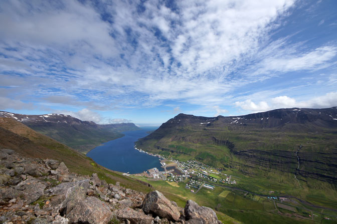 The small town of Seydisfjordur lies at the innermost point of the fjord of the same name, 2012