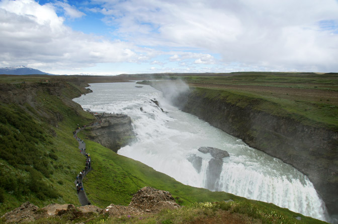 Gullfoss two-tiered waterfall in the canyon of Hvita river, 2012