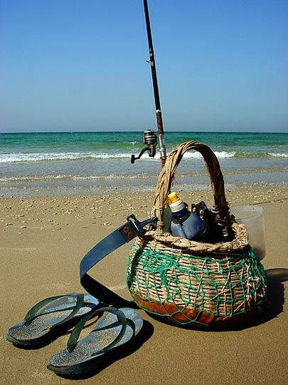 A fisherman's basket at Appolonia beach in Herzlia, The Israel National Trail 2003